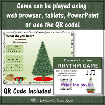 Christmas Music Game Eighth/Quarter: Interactive Rhythm Game Decorate the Tree