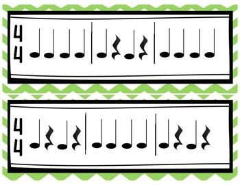 Rhythm Exercise Flash Cards- 4/4 Meter