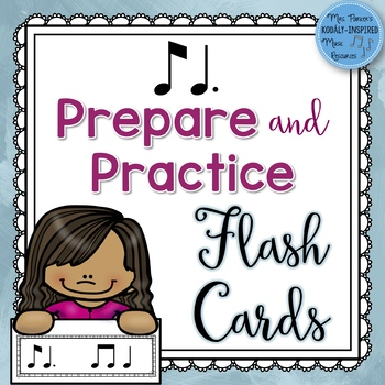 Rhythm Flash Cards for Prepare and Practice: Ti Tom (Eighth Note/Dotted Quarter)