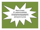 Rhythm Flashcards: Quarter Notes, Quarter Rests and Groups of 4 Sixteenth Notes