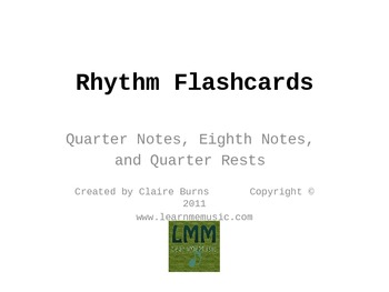 Rhythm Flashcards for Quarter Notes, Eighth Notes, and Quarter Rests