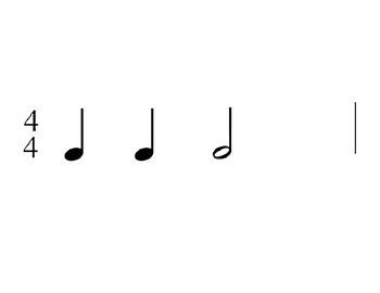 Rhythm Flashcards - half note, half rest, whole note