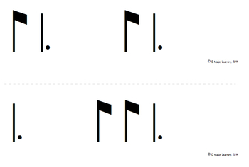 Rhythm Flashcards ti-tam (eighth dotted quarter)