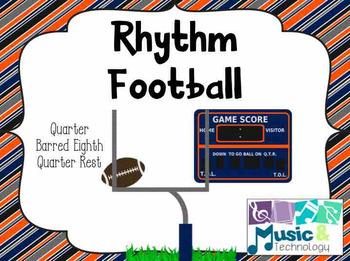 Rhythm Football (Quarter, Eighth, and Quarter Rests)- (Pow
