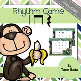 Rhythm Game: Find the Monkey {Quarter Note, Quarter Rest, Eighth Note Pair}