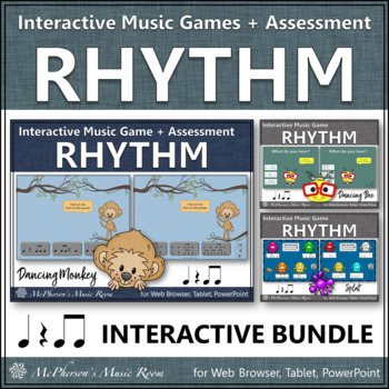 Rhythm Games for Eighth Notes Interactive Music Games and Assessment {Bundle}