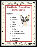 Music Activities: 12 Music Rhythm Invention Worksheets