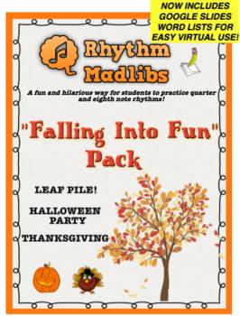 "Rhythm Madlib ""Falling Into Fun"" Fall, Halloween, Thanksgiving Pack"