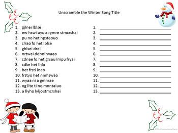 Rhythm Match Christmas / Winter Song Lyrics for Middle School