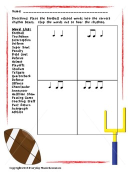 Rhythm Match Football Terms- Super Bowl Activity