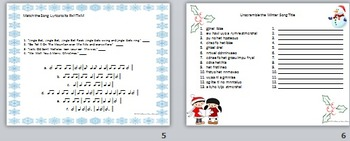 Rhythm Match: Winter Song Lyrics & Unscramble: Winter Song Titles 1