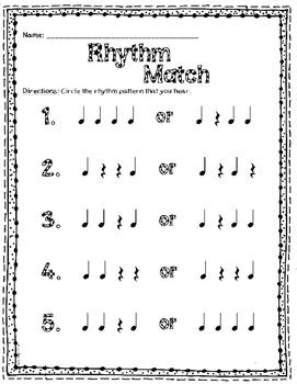 Rhythm Match Worksheets {Quarter Rest & Quarter Note}