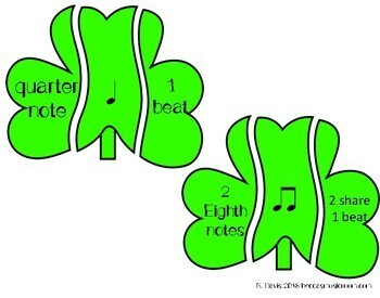 Rhythm Shamrocks Matching Game for Music Centers