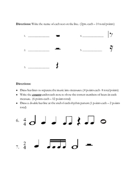 Rhythm Note Value Exam (Whole to Sixteenth)