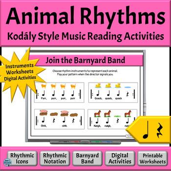 Music Rhythm Patterns to Read & Play, Quarter Note/Rest - Animal Rhythms