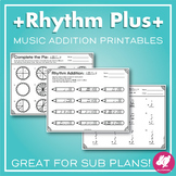 Rhythm Worksheets: Note Addition, Music and Math - PDF and