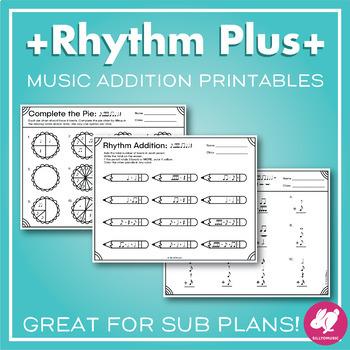 Rhythm Addition Music + Math Worksheets