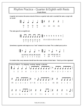 Rhythm Practice Worksheets - Quarter & Eighth Notes & Rests in Simple Meter