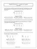 Rhythm Practice Worksheets - Quarter & Eighth Notes & Rest