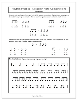 Rhythm Practice Worksheets - Sixteenth Notes in Simple Meter