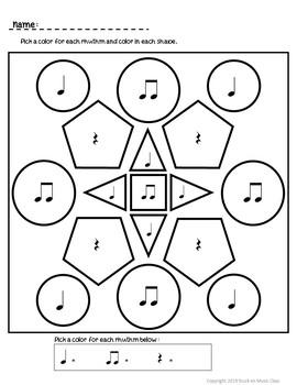 Rhythm Quilt Squares - Color by Rhythm Worksheets