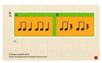 Rhythm Quiz 1 - Quarter Note/Rest Paired Eighth Notes - Elementary Music PPT