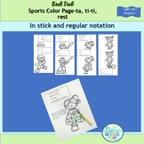 Rhythm Reading: Sports Color Pages Ta, Ti-ti, and Rest for
