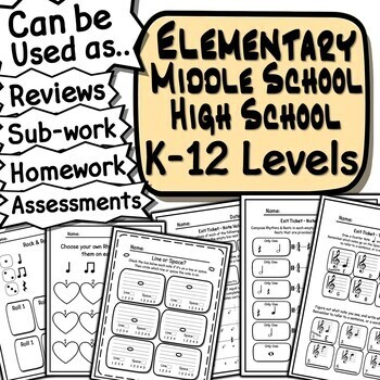 45 Rhythm Worksheets  - Tests, Quizzes, Homework, Reviews or Sub Work!