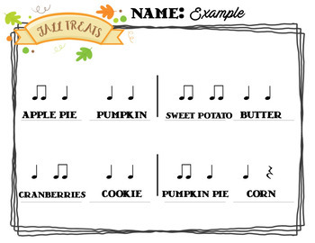 Rhythm Centers and Composition Rhythm Sort - Fall Food Festival Edition