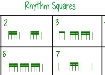 Rhythm Squares tika-tika (sixteenth notes)