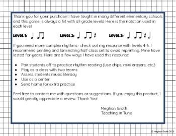 Rhythm Tic-Tac-Toe! A Rhythm Reading Game! Levels 1-3