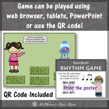 Music Game: Eighth & Quarter Interactive Rhythm Game + Assessment {gumball}