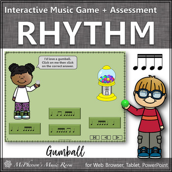 Music Game: Sixteenth Notes Interactive Rhythm Game + Assessment {gumball}