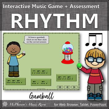 Music Game: 2 Sixteenths/1 Eighth Interactive Rhythm Game + Assessment {gumball}