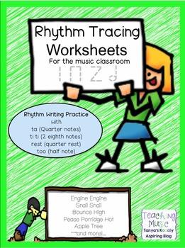 Rhythm Tracing Worksheets: Ta TiTi Ta Rest and Half Note