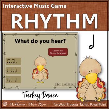 Thanksgiving Music Game Half  Notes {Interactive Rhythm Game} Turkey Dance