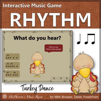 Thanksgiving Music Game Eighth & Quarter Notes {Interactive} Turkey Dance