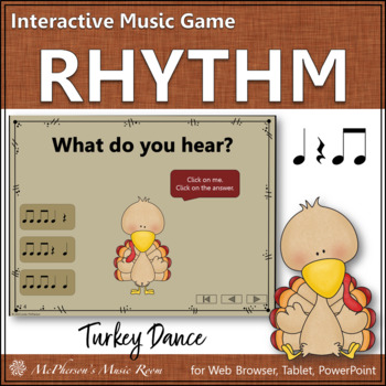 Thanksgiving Music Game Eighth Notes {Interactive Rhythm Game} Turkey Dance