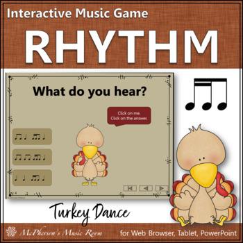 Thanksgiving Music Game 2 Sixteenths/1 Eighth Note {Interactive} Turkey Dance