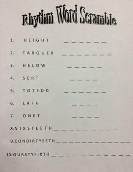 Rhythm Vocabulary Word Scramble