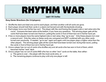 Rhythm War Card Game - Musical Note & Rest Values