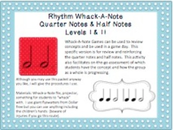Rhythm Whack-A-Note: Quarter Notes & Half Notes