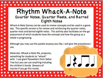 Rhythm Whack-A-Note: Quarter Notes, Quarter Rests, and Eighth Notes