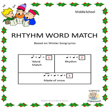 Rhythm Word Match Christmas / Winter Songs for Middle School