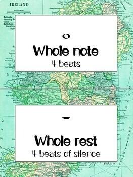 Rhythm Word Wall Display | World Map/Travel Theme