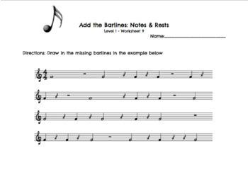Rhythm Worksheet Bundle Levels 1-5