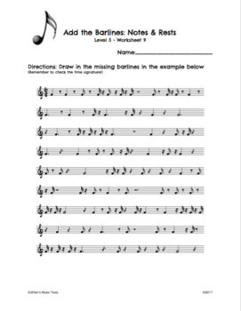 Rhythm Worksheet Bundle Levels 1-5