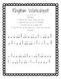 Rhythm Worksheet (Quarter, Eighth, Quarter Rest)