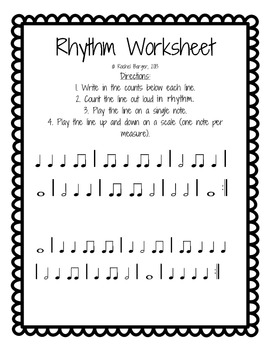 Rhythm Worksheet (Quarter, Eighth, Quarter Rest) by Music From B2Z