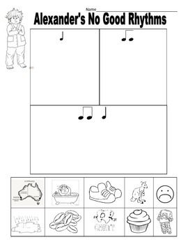 Rhythm Worksheet/Alexander's No Good Rhythms